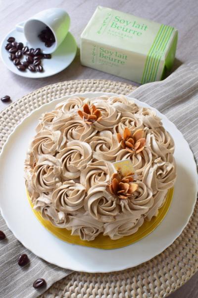 乳不使用☆モカバターフラワーケーキ
