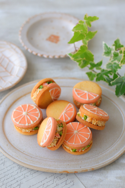オレンジバタークリームのクッキーサンド