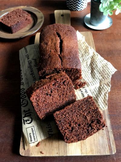 牛乳パックで!しっとりふわふわ*チョコパウンドケーキ