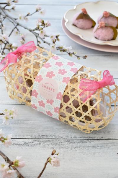 春を感じる和菓子のラッピング