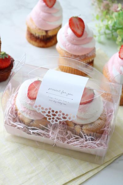苺のカップケーキのラッピング