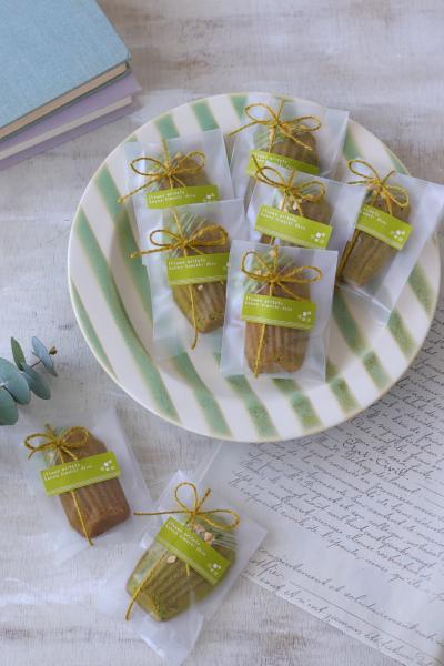 抹茶マドレーヌの個包装ラッピング