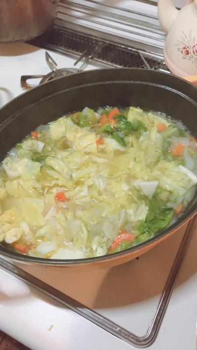 ストウブでつくる優しい味の野菜スープ