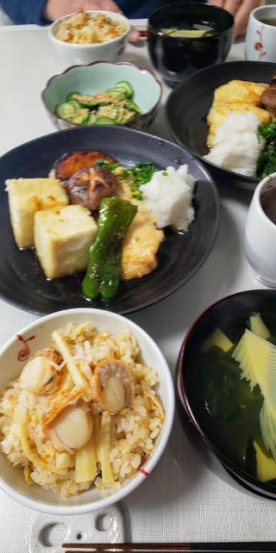 竹の子とベビーホタテの炊き込みご飯