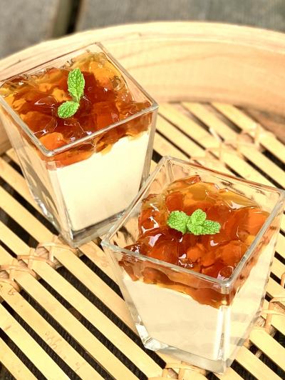 お豆腐ときな粉のホワイトチョコムース&黒蜜ゼリー