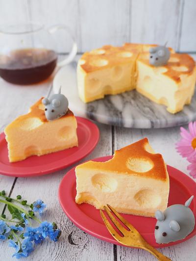 穴あきチーズケーキとネズミさん♡