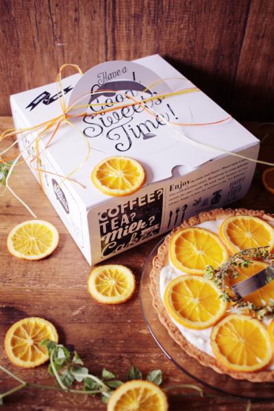 オレンジのクリーミーチーズタルトのラッピング