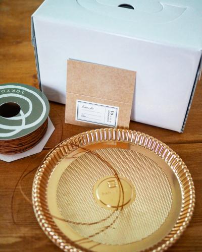 塩キャラメルマーブルレアチーズケーキのラッピング