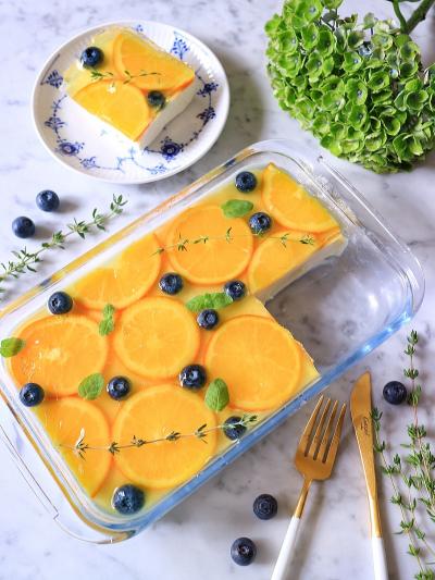 オレンジ&レアチーズのスコップケーキ