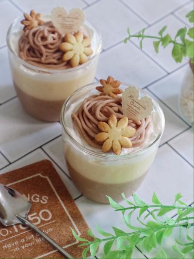【マロン2020】マロンショコラとチーズのダブルプリン♡