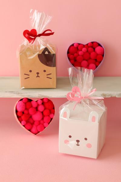動物ギフト箱を使ったバレンタインラッピング