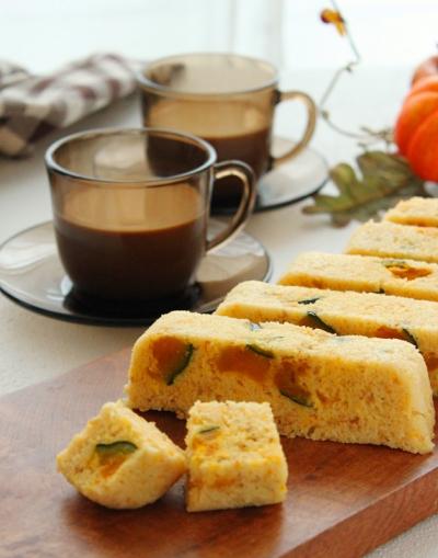 ゴロゴロかぼちゃの玄米粉蒸しパン