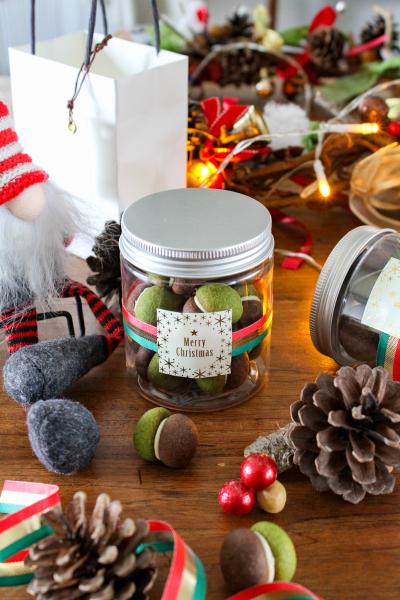 クリスマスクッキーのボトルラッピング