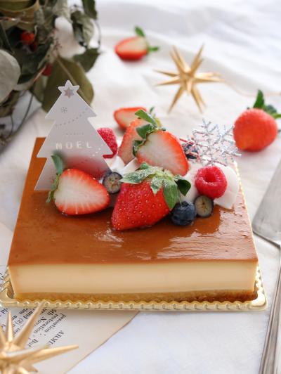 クリスマススクエアプリンケーキ