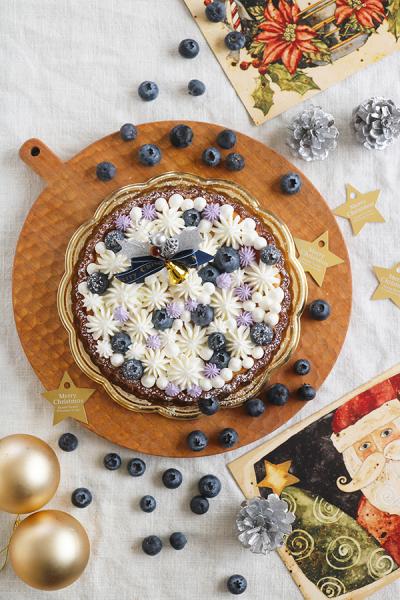 ブルーベリーのWチーズタルトのクリスマスラッピング