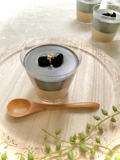 ほうじ茶&黒胡麻豆乳プリン