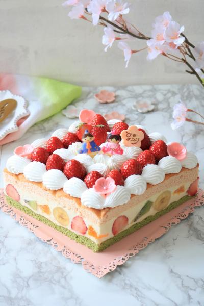 ひな祭りに♪ビスキュイフルーツショートケーキ