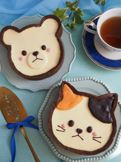 クマ&ネコのレアチーズタルト♡