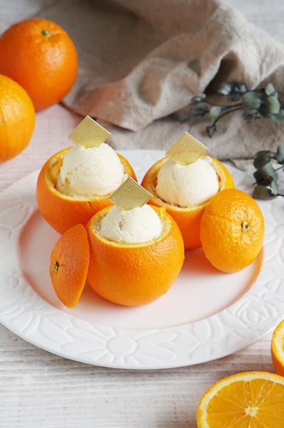 オレンジのフローズンアイスクリーム