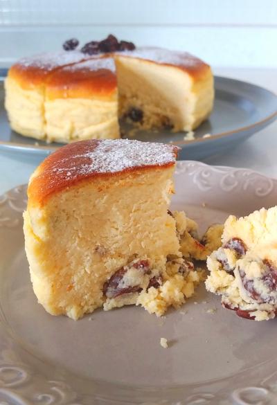 キルシュ香るごろっとレーズンのスフレチーズケーキ