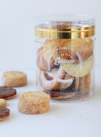円筒ケースを使ったクッキーのラッピング