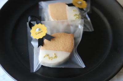 レモン風味のクッキーサンドのラッピング