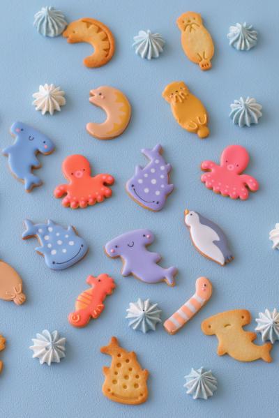バタフライピーを使ったメレンゲクッキーと海の仲間たちクッキー