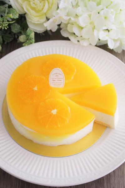 爽やかなオレンジのレアチーズケーキ