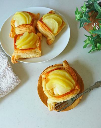 レンジで簡単りんごカスタードパイ