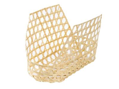 竹製六ツ目編みバッグ籠 白