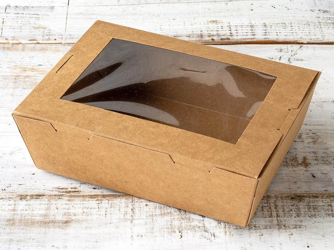 窓付きランチボックス(L)クラフト