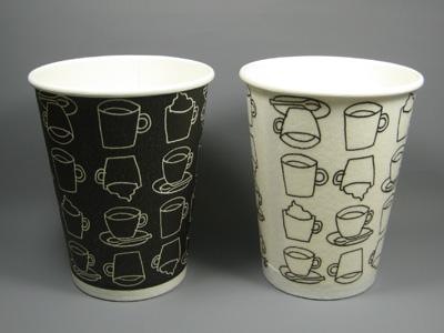 ホット用発泡断熱カップ カフェモダン(2色) 12オンス