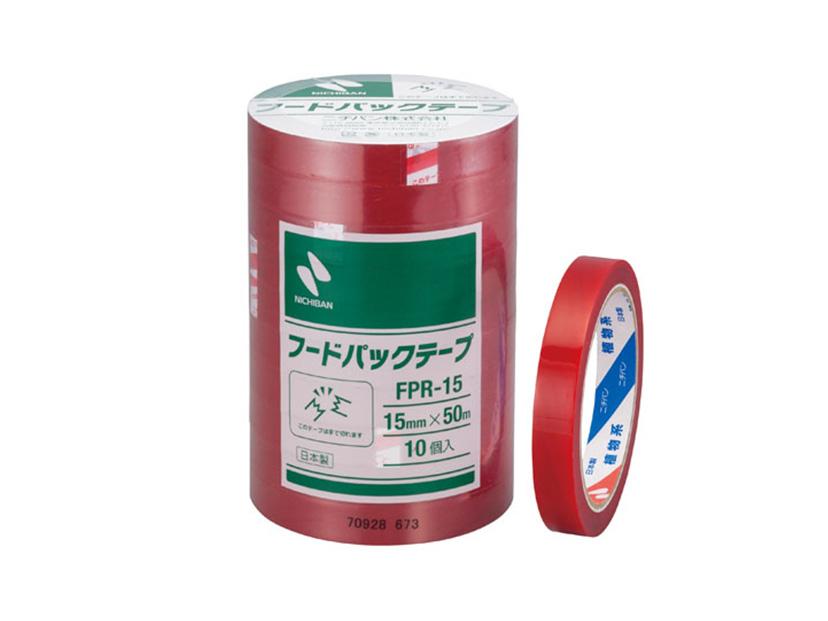 フードパックテープ 赤 15mm×50m巻