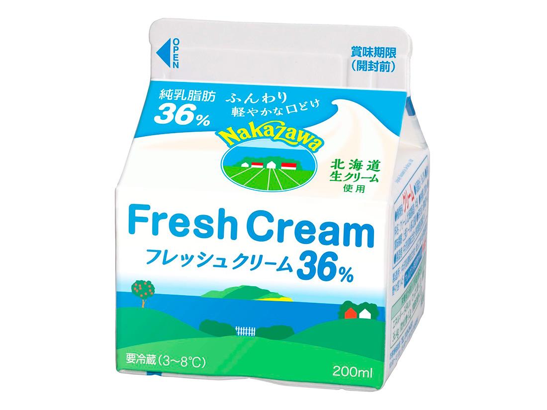 冷蔵 中沢乳業 フレッシュクリーム 36% 200ml