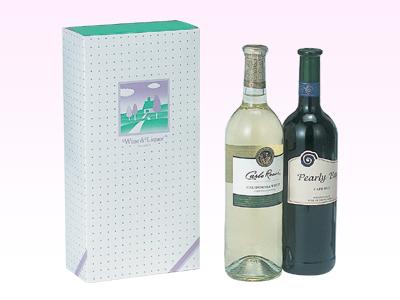 ワイン筒式箱イラスト(2本用)