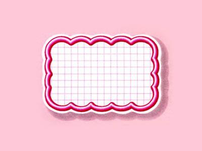 抜型カード 立体枠 波四角¥なし(50枚入)ピンク
