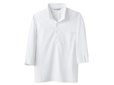 ニットシャツMC2711白(男女兼用・七分袖)L