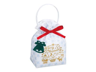 クリスマス リボンバッグ2 白