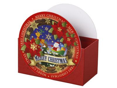 ラウンドBOX クリスマス ポインセチア