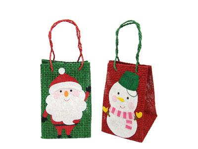 サンタ&雪だるま紙バッグ(2種アソート)