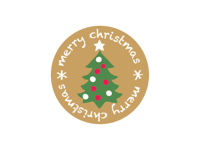 クリスマスラウンドシール ツリー