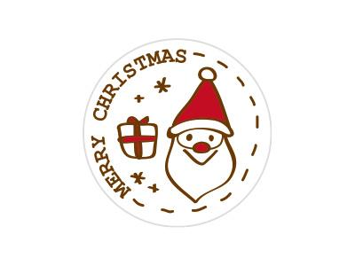 クリスマスラウンドシール サンタ