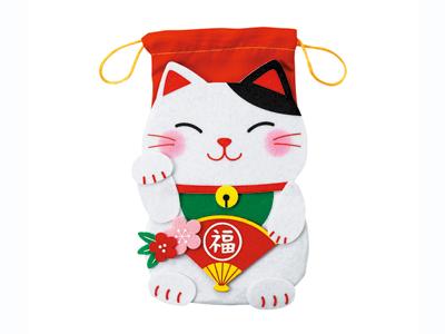 招き猫のフェルト巾着