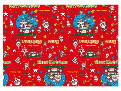 クリスマス包装紙 ドライブサンタR 半才(50枚入)