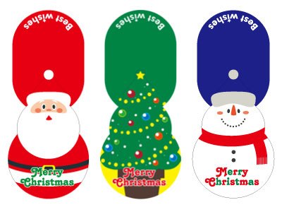 クリスマスギフトシール ぴょこりん!XM(3柄アソート・各6片入)