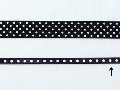 cotta ドットグログランリボン(大) ブラック×ホワイト 6mm×20m