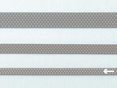 cotta ドットリボン グレー×ホワイト 6mm×20m