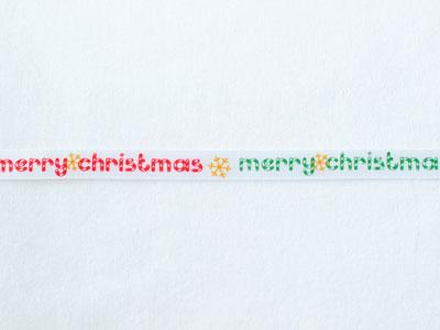 cotta リボン クリスマス メリークリスマス 白/赤 9mm×5m
