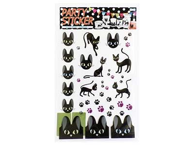 パーティーステッカー 黒猫パーティ