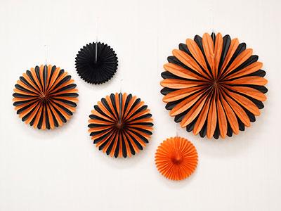 ペーパーファン オレンジ&ブラック